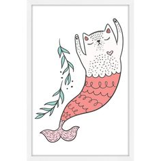 Accessorize your sweet one's bedroom with the whimsical Marmont Hill Purrmaid 3 Framed Painting Print. This framed giclee print on paper comes in a range of sizes to choose from. Each one arrives with hanging hardware and a certificate of authenticity. Painting Frames, Painting Prints, Paintings, Dandelion Wall Decal, Paper Artwork, Arte Popular, Kitsch, Animal Drawings, Cat Art