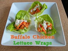 Buffalo Chicken Lettuce Wraps with Buttermilk Blue Cheese Dressing #lowcarb #healthy #recipe on www.thetastyfork.com