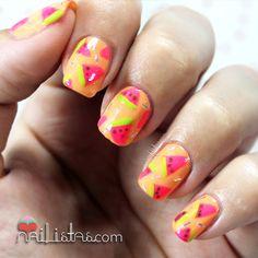NEON Watermelon nail art for summer