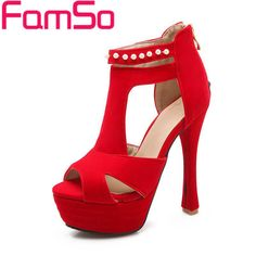 Plus Size34-43 2016 New Women Gladiator Sandals Black red High Heels Wedding Shoes Peep toe Summer Women's Pumps Shoes PS2114 alishoppbrasil