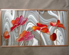 Red Tulips Stained Glass Panel Poppies by FleetingStillness Stained Glass Paint, Making Stained Glass, Stained Glass Flowers, Stained Glass Crafts, Stained Glass Designs, Stained Glass Panels, Stained Glass Patterns, Modern Stained Glass, Mosaic Glass