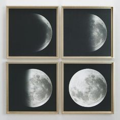 One of my favorite discoveries at WorldMarket.com: Moon Phases by Gail Peck with Gold Frames Set of 4