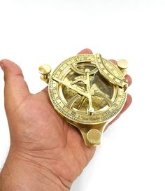 Navigation Compass Antique Gold Cast Iron Large Compass 19 Inch Nautical Theme