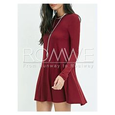 Burgundy Long Sleeve Casual Dress ($11) ❤ liked on Polyvore featuring dresses, burgundy dress, burgundy red dress, longsleeve dress, burgundy long sleeve dress and red long sleeve dress