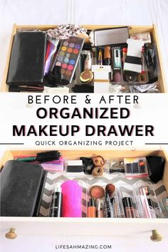 Finally organized my makeup drawer! If you've got a drawer filled with things and you can't see the bottom, check out how I quickly organized my makeup and hair accessories drawer and made it pretty. #homeorganization #makeupdrawer Makeup Drawer Organization, Home Organisation, Closet Organization, Clear Plastic Containers, Makeup Supplies, Old Desks, Old Drawers, Acrylic Organizer, Drawer Organisers