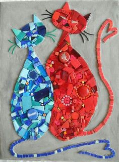 Mosaicos Cats, Red Cat, Blue Cats