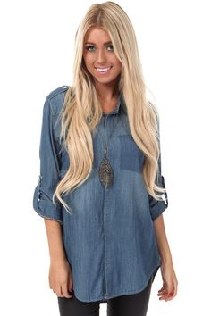 Lime Lush Boutique - Denim High Low Oversize Top, $42.99 (http://www.limelush.com/denim-high-low-oversize-top/)