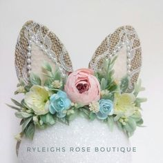 Winter Floral Baby Headband Blush Pink White Gold Accents Partial Flower Crown Wild One Birthday Party Accessories Ryleighs Rose Boutique