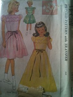 McCall #1610. Girls' Sheer Dress with Transfer, size 6. Looks to be from the 1950's.