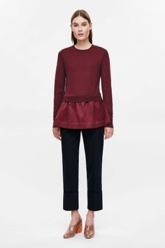 COS image 1 of Knitted top with woven skirt in Cherry