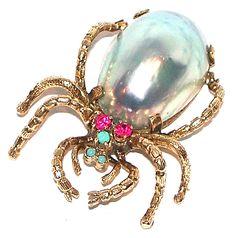 Estate Jeweled Spider Pin  www.midcenturyjewelry.com