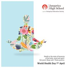 Health is the state of harmony of the body, mind and spirit. Eat good. Sleep well. Think positive. Happy World health Day.