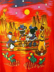 Disney Store Red T-Shirt Western Desert Rhinestones Mickey Minnie Donald
