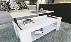 Designer White Gloss Coffee Table with Lift Up Top for Storage Bring a touch of contemporary design into your living room with this elegant and White Gloss Coffee Table, Lift Up Coffee Table, Coffee And End Tables, Coffee Table With Storage, Garden Furniture Sets, Storage Shelves, Easy Storage, Contemporary Design, House Styles