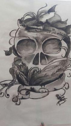 Handgefertigtes Aquarell der Nass in Nass Technik.  Das Hauptmotiv, der Totenkopf als Tod mit vielen Blättern als Symbolisches Leben ist mit seinem Sparsamen Farbeinsatz der Blickfang in jedem...