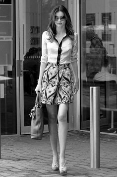 Miranda Kerr, street style in detailed shirt with pattern skirt www.geisker.com.au