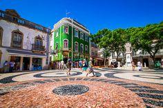 Green Tiled Building, Lagos Plaza, Algarve, Portugal