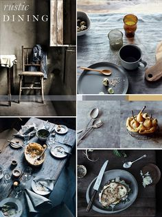 Continuing with last weeks tabletop theme, w'eve been coveting some of these beautiful rustic dining images over the weekend. Tumbled linens, worn woods and vintage cutlery look perfectly enticing in a palette of blue greys and warm ochre shades.