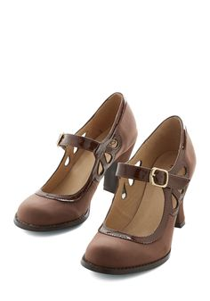 Glide by Side Heel - Mid, Faux Leather, Brown, Solid, Cutout, Wedding, Party, Work, Vintage Inspired, 20s, Better, Mary Jane