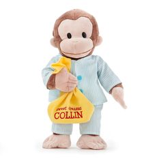 The Official PBS KIDS Shop | Personalized Curious George 16 Inch Pajamas Plush Doll - Plush Toys & Stuffed Animals - Toys & Games