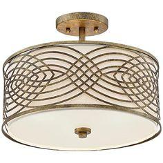 "Possini Euro Jupiter 15"" Wide Antique Gold Ceiling Light"