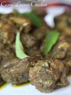Curry Leaves Chicken: An Indian dry chicken side dish cooked with curry leaves. Try the recipe @ http://simpleindianrecipes.com/Home/Curry-Leaves-Chicken.aspx