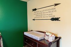 2014 Trend: Arrow accents in the nursery - but we also LOVE this wall decal in this baby boy's room! Adding a motivational quote onto the nursery wall encourages so much positivity! Baby Boy Themes, Baby Boy Rooms, Baby Boy Nurseries, Arrow Nursery, Baby Changing Tables, Arrow Decor, Superhero Room, Man Room, Project Nursery