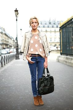 Love her ensemble--planned but also easy and natural.  Love the polka-dots!