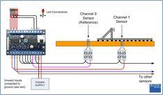 DET-8 8-Channel Train Detector Model Railway Track Plans, Photoelectric Sensor, External Lighting, Green Led, Electronic Engineering, Model Train Layouts, Lights Background, Circuits, Model Trains