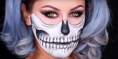 Looking for a last-minute Halloween costume idea? This easy half-skull makeup tutorial will make you look like an actual skeleton at your Halloween party. Zombie Halloween Makeup, Zombie Makeup, Scary Makeup, Halloween Halloween, Skeleton Makeup Tutorial, Makeup Tutorial Step By Step, Half Skull Makeup, Sugar Skull Makeup, Makeup Tips Foundation