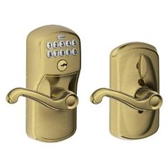 Schlage FE595 PLY 609 FLA Plymouth Keypad Entry with Flex-Lock and Flair Style Levers, Antique Brass by Schlage Lock Company. $128.02. Amazon.com                   Experience the freedom of keyless convenience.  No more hiding keys under the doormat. No more losing, forgetting, or making extra keys time and time again. Step up to a more secure and flexible solution with a Schlage Residential Keypad Lock. Install a new keypad lock yourself--with nothing more than a screw...