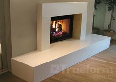 White Concrete Fireplace Surrounds -Trueform Concrete Custom Work www. White Concrete F Simple Fireplace, Tall Fireplace, Fireplace Seating, Candles In Fireplace, Paint Fireplace, Double Sided Fireplace, Shiplap Fireplace, Concrete Fireplace, Fireplace Hearth