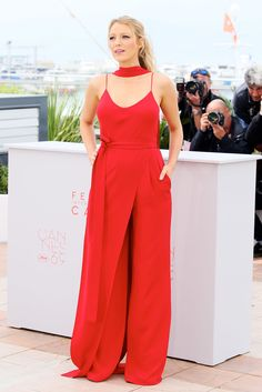 8c58b780e324 Can You Spot Blake Lively s Baby Bump in Her Red Jumpsuit