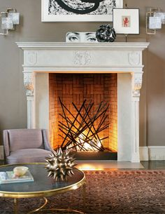 Creative with your gas fireplace as this stylish fireplace! Decorative brickwork in the back of this fireplace helps with the stylish effect. Ventless Fireplace Insert, Tall Fireplace, Fireplace Garden, Home Fireplace, Fireplace Inserts, Modern Fireplace, Fireplace Design, Decorative Fireplace, Fireplace Hearth