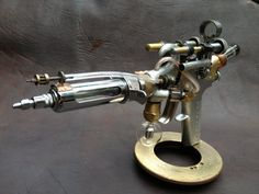This one is now SOLD. Contact me for a custom steampunk firearm. Blue Aether Injection Ray Gun from the Laboratory of Archibald Q. Tinkerman.
