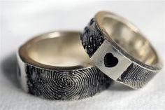 Custom Fingerprint Ring Wedding Band Personalized Sterling Silver Jewelry from rockmyworldinc on Etsy. Saved to wedding rings. Unusual Wedding Rings, Wedding Rings For Women, Wedding Men, Wedding Ring Bands, Wedding Ideas, Fingerprint Wedding Bands, Fingerprint Ring, Frases Instagram, Engagement Rings For Men