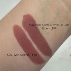 maybelline lipstick in nude nuance ($8) is an amazing dupe for mac whirl lipstick ($17) both matte formulas too