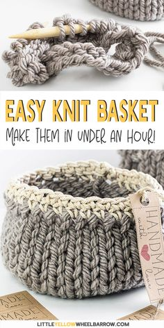 Free DIY Basket Pattern you can Knit up in a Flash Cute DIY baskets you can knit up quick and easy. This easy craft project requires a single skein of yarn and requires only basic knitting knowledge. A perfect knitting project for beginners. Knit up a Knitting Terms, Free Knitting, Simple Knitting, Knitting Needles, Knitting Yarn, Summer Knitting, Easy Craft Projects, Yarn Projects, Sewing Projects
