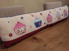 Pretty Cupcake fabric draught excluder