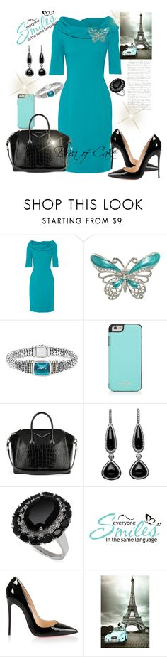 """Classy outfit blue and black"" by Diva of Cake on Polyvore featuring Oscar de la Renta, Lagos, Kate Spade, Givenchy, WALL and Christian Louboutin"