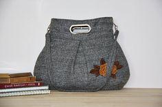 wool bag/pleated diaper bag/metal handle large purse by leyyabags, $40.00