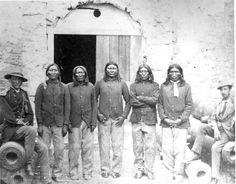 L-R: Capt. Richard H. Pratt, Lone Wolf (Kiowa), Double Vision (Kiowa), White Horse (Kiowa), Woman's Heart (Kiowa), Owl Prophet (Kiowa), unknown, at Ft. Marion, Florida - 1875