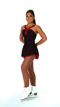 New Jerrys Competition Skating Dress 68 Roses Red Ruched BodiceRed Made on Order #Jerrys