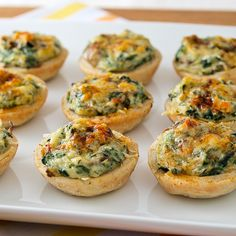 Mini Crab, Spinach, and Mushroom Tart Appetizers For Party, Appetizer Recipes, Appetizer Ideas, Elegant Appetizers, Tapas, Savory Tart, Savoury Tart Recipes, Savory Pastry, Savory Snacks
