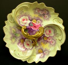 Antique-Hand-Painted-Victorian-Porcelain-Divided-Serving dish