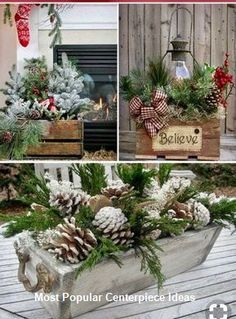 Awesome DIY Rustic Christmas Decorations You'll Love! Wooden centerpieces for Christmas Christmas Planters, Christmas Arrangements, Christmas Porch, Farmhouse Christmas Decor, Noel Christmas, Primitive Christmas, Outdoor Christmas, Christmas Wreaths, Holiday Decor