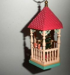 HALLMARK TO MY SWEETHEART GAZEBO 1986 VTG Ornament with Tree and Squirrels