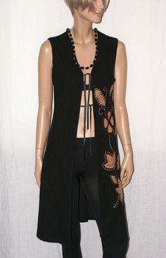 Original Embroidered Gipsy Vest Branded SAXX Collection Leather Laces Size S/M  Lungo Gilet Donna Nero Decorato Stile Hippie Boho Taglia S/M di BeHappieWorld su Etsy