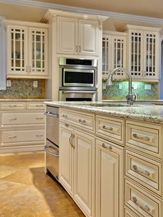 My kitchen design ideas on pinterest white kitchens - Off white cabinets with chocolate glaze ...