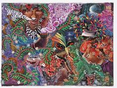 Auca Yachai by Pablo Amaringo      Auca Yachai    This picture conveys the diverse knowledge that Amazonian people have of plants including both medicinal properties and their value as a food resource. This has accumulated over centuries through communion with plant spirits, drinking ayahuasca and dieting. By chanting the icaro of the correct plant, the shaman summons the appropriate wisdom for healing his patient. Many Indian healing practices are little known.